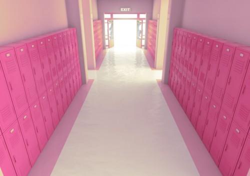 Pink School Locker Exit Way
