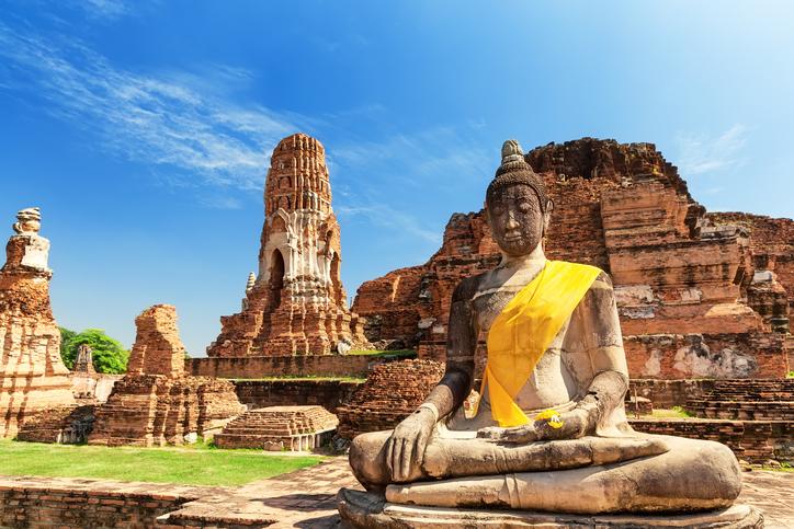 Wat Mahathat In Buddhist Temple Complex In Ayutthaya. Thailand